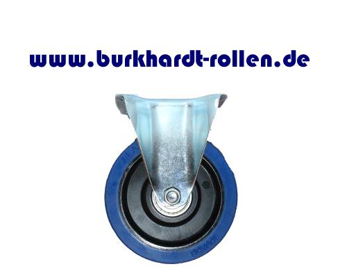 Bockrolle,Elastic-Gummi blau,D160mm,Kula Rad mit Kugellager,