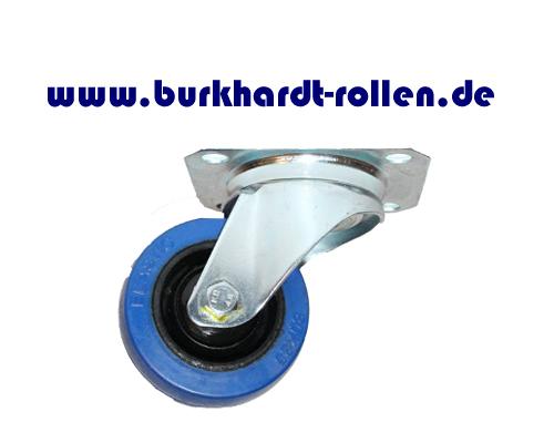 Lenkrolle,Elastic-Gummi blau,D080mm,Kula Rad mit Kugellager,