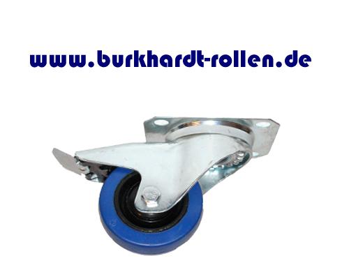 Lenkrolle,Feststeller,Elastic-Gummi blau D 80mm, Rad mit Kugellager
