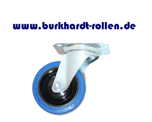 Lenkrolle,Elastic-Gummi blau,D100mm,Kula Rad mit Kugellager