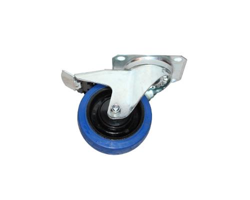 Lenkrolle,Feststeller,Elastic-Gummi blau D100mm, Rad mit kugellager
