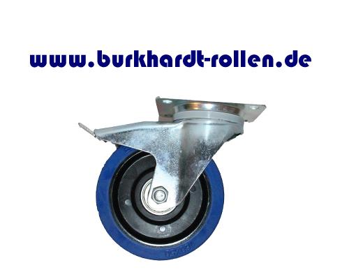Lenkrolle,Feststeller,Elastic-Gummi blau D160mm, Rad mit Kugellager