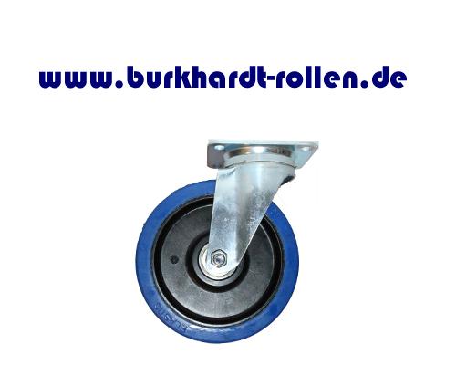 Lenkrolle,Elastic-Gummi blau,D200mm,Kula Rad mit Kugellager