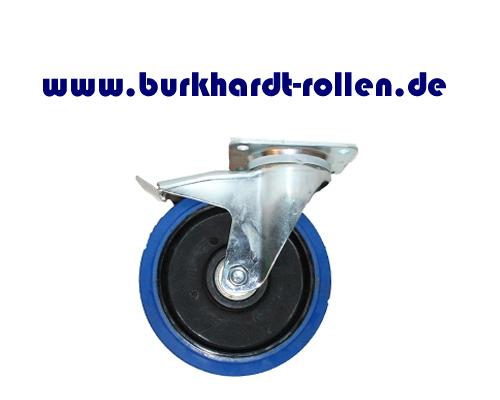 Lenkrolle,Feststeller,Elastic-Gummiblau D200mm, Rad mit Kugellager