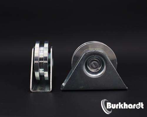 Schiebetorrolle mit Bock-Gehäuse,D 78mm, mit Nut 8 mm, TK 200 kg,