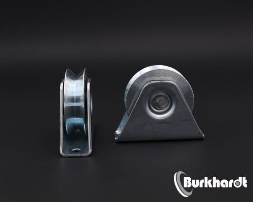 Schiebetorrolle mit Bock-Gehäuse,D 60mm, mit V-Nut 92Grad, TK 100 kg,