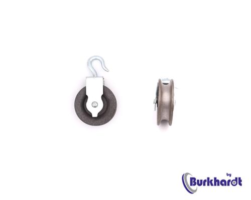 Bügelseilrolle mit drehbaren Haken 50mm, Seilrolle aus Grauguss,TK 22kg,Rille10mm