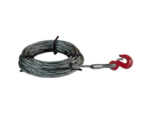 Stahlseil 11 mm f. DELTAFOR Seilzug 1,6 t, Länge 20m mit Haspel und Lasthaken