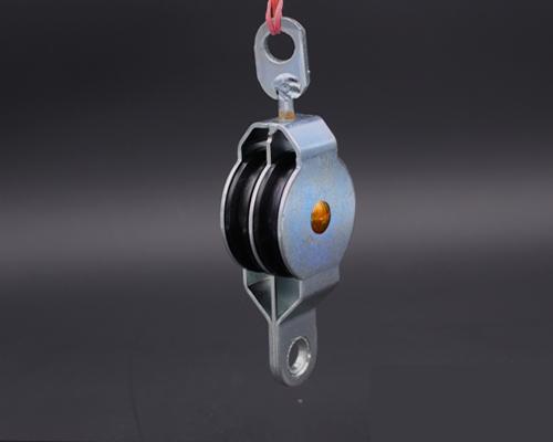 Doppel-Blockrolle drebar,Rollendrm. 50mm aus Kunststoff, Gleitlager, Geh. Stahl