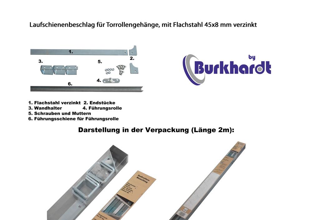 Laufschienenset a.Flachstahl 45x8mm,L=2m passend für Schiebetürgehänge