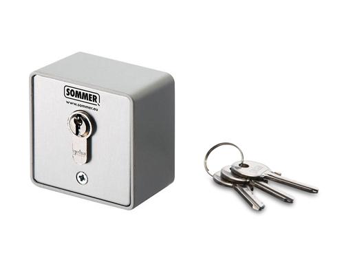 Schlüsseltaster Aufputz, 1-Kontakt mit Zylinder+3 Schlüssel, Marke: Sommer